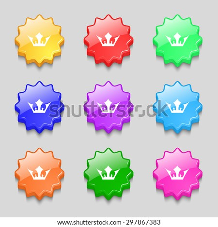 Crown icon sign. symbol on nine wavy colourful buttons. Vector illustration - stock vector
