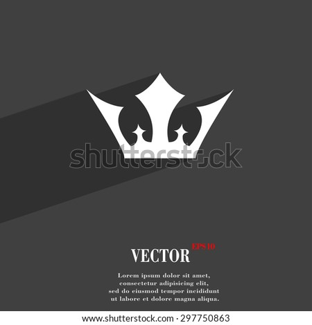 Crown icon symbol Flat modern web design with long shadow and space for your text. Vector illustration - stock vector