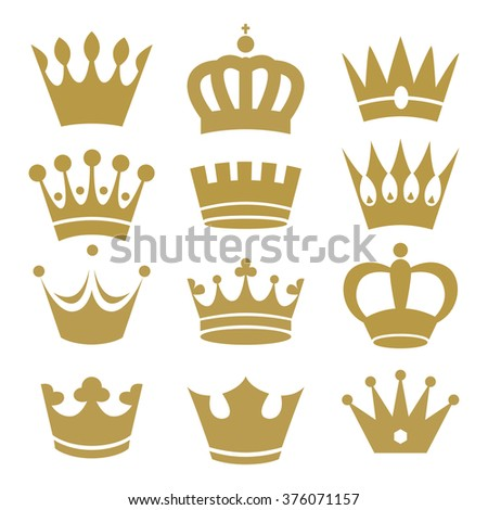 Crown icons isolated on white background - stock vector