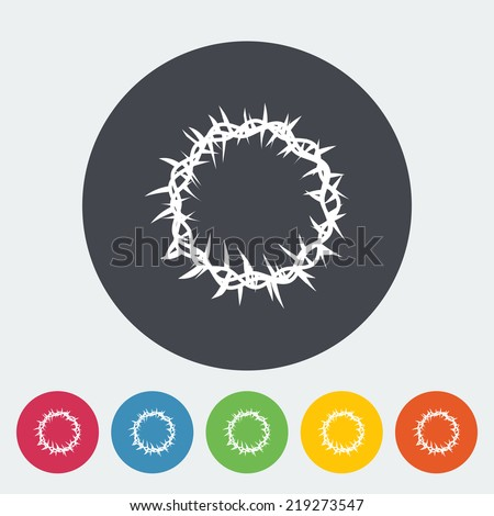 Crown of thorns. Single flat icon on the button. Vector illustration. - stock vector