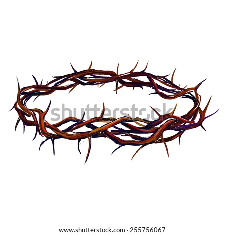 crown of thorns vector illustration  hand drawn  painted  - stock vector
