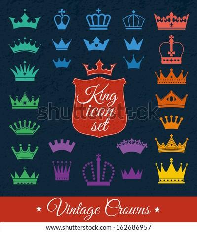 Crown set . Flat design - stock vector