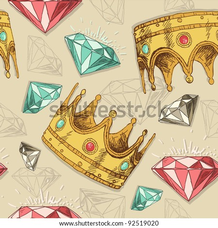 Crowns and diamonds - stock vector