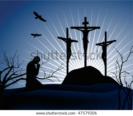 Crucifixion. Silhouettes of the three crosses and praying man. Vector illustration scale to any size. All elements and textures are individual objects. - stock vector