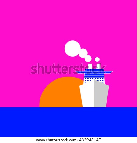 Cruise boat at sunset. Vector - stock vector