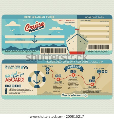 Cruise ship boarding pass flat graphic design template. Face and back side - stock vector