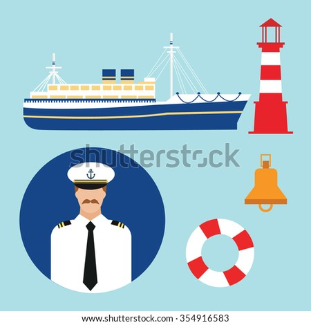 cruise ship captain vector boat sailor icon set nautical lighthouse  marine sea  - stock vector
