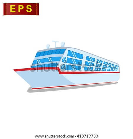 cruise ship icon, vector cruise liner icon, isolated travel icon - stock vector