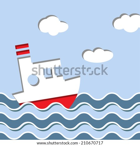 Cruise ship in the ocean. Vector background in vintage style - stock vector