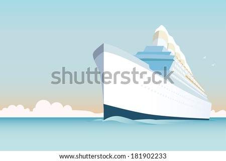 Cruise Ship vector Illustration. Retro styled white cruise ship on the ocean. - stock vector