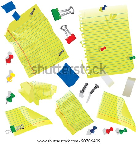 Crumbled Yellow note cards and paper with push pins, clips and tape. - stock vector