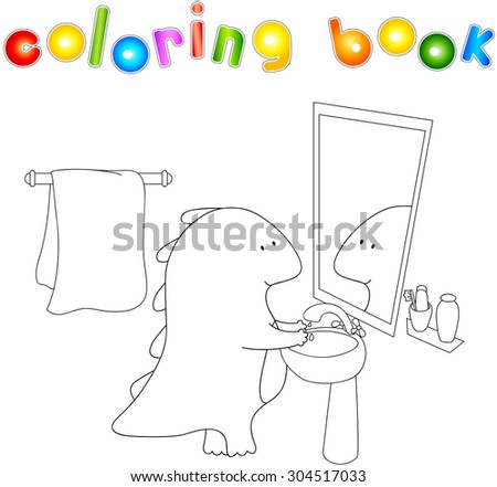 Crummy bellied dragon is washing his hands. Coloring book about healthy lifestyle for children. Vector illustration for kids - stock vector