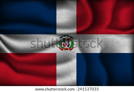crumpled flag of Dominican Republic on a light background. - stock vector