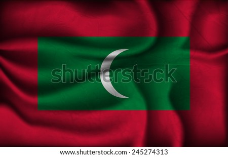 crumpled flag of Maldives on a light background. - stock vector