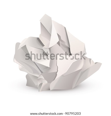 Crumpled paper ball - stock vector