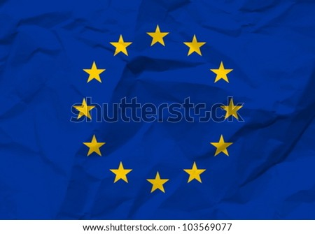 Crumpled paper European union flag textured background. Vector illustration. - stock vector