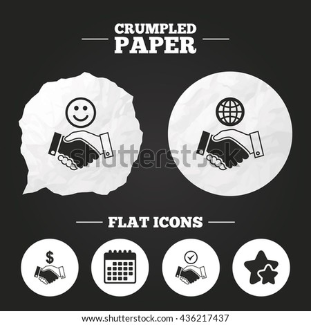 Crumpled paper speech bubble. Handshake icons. World, Smile happy face and house building symbol. Dollar cash money. Amicable agreement. Paper button. Vector - stock vector