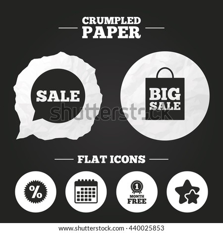 Crumpled paper speech bubble. Sale speech bubble icon. Discount star symbol. Big sale shopping bag sign. First month free medal. Paper button. Vector - stock vector