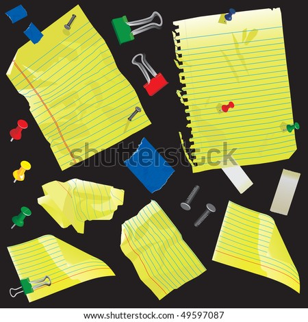 Crumpled yellow legal paper, spiral note book paper and index cards with push pins, nails, tape and clips - stock vector