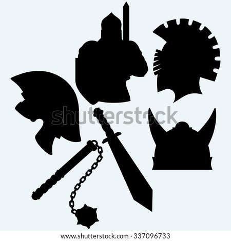 Crusader metallic knight's helmet, sword and mace. Isolated on blue background. Vector silhouettes - stock vector