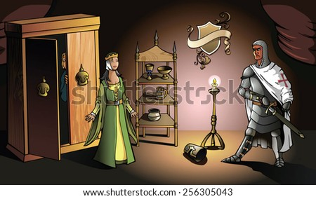 Crusader returns from Holy Land and catches his wife with lover, vector illustration - stock vector
