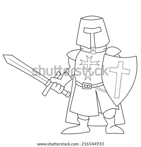 Crusader with a sword, sketch illustration. Cartoon world warriors series. - stock vector