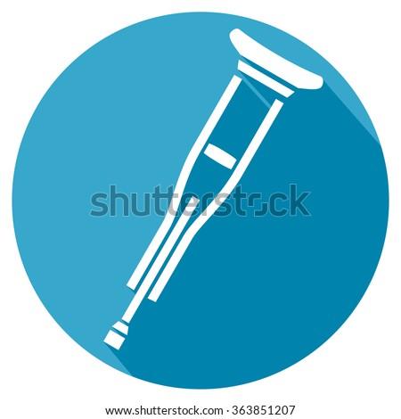 crutch flat icon - stock vector