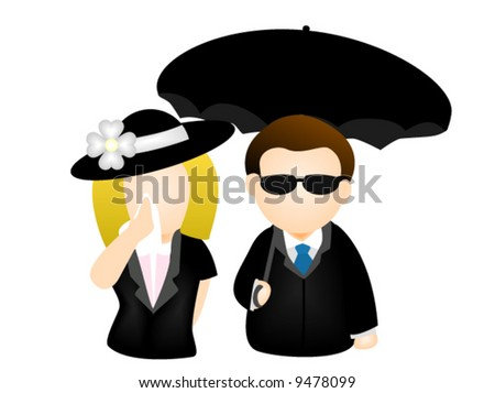 Crying at the Funeral - Vector Icon - stock vector