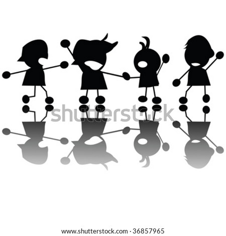 Crying children silhouettes, vector isolated objects on white - stock vector