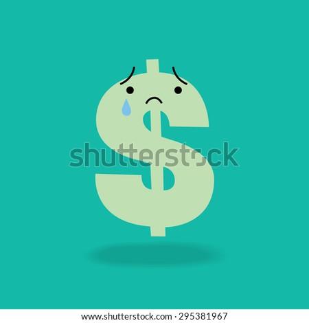 Crying dollar sign cartoon character economics money concept illustration - stock vector