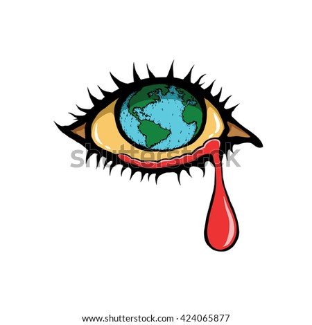 Crying eye. Earth with a sad for global warming and pollution concept. Hand-drawn retro style. - stock vector