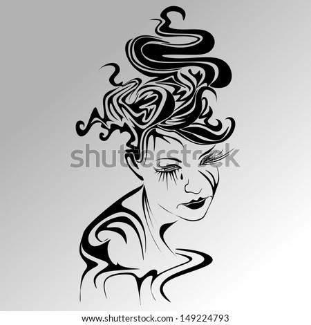 Crying girl abstract vector - stock vector