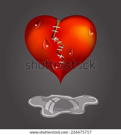 Crying heart.  - stock vector