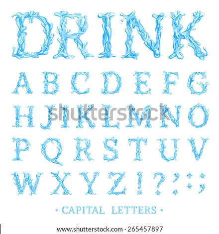 Crystal Clear Water font Part 3/3 Capital letters. Vector  - stock vector