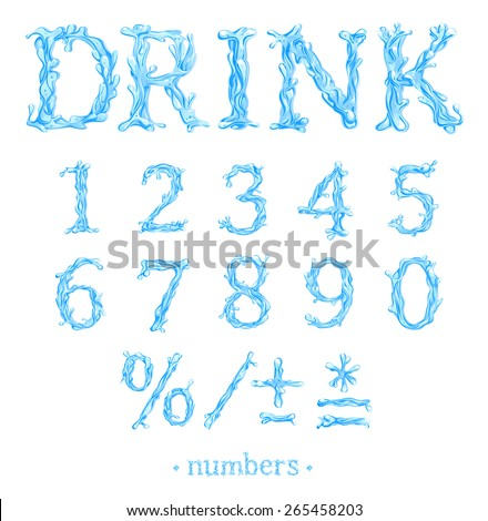 Crystal Clear Water font Part 3/3 Numbers. Vector - stock vector
