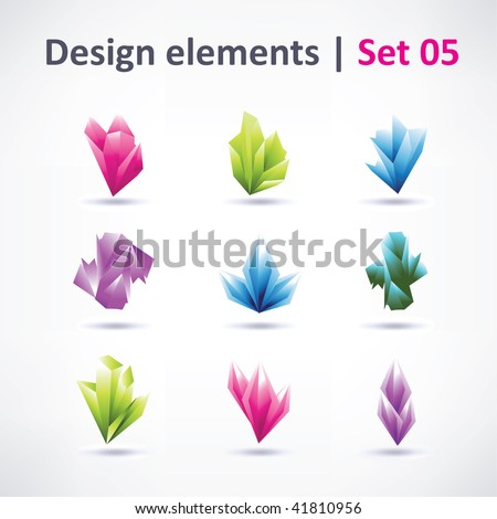 Crystal design elements for business artwork vector - stock vector