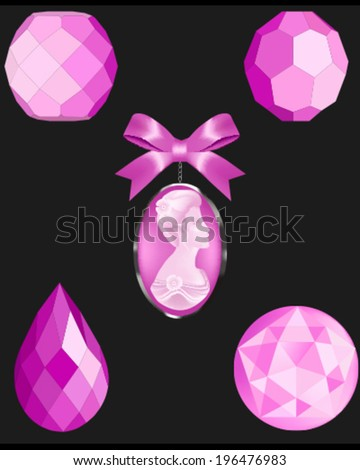 Crystal Pink vector Beads. Four faceted vector bead illustrations and a cameo vector - stock vector