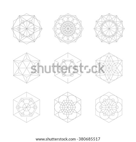 Crystal set. Hipster geometric shapes. Science outline design elements. - stock vector