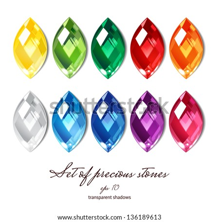 Crystals icons set of 10 colors - precious jewelry stones collection isolated on white - stock vector