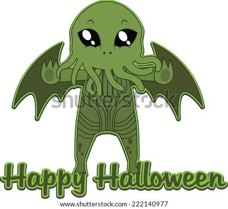 Cthulhu Happy Halloween sticker - stock vector