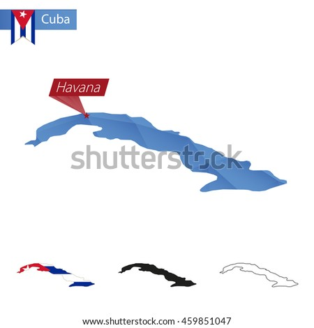 Cuba blue Low Poly map with capital Havana, versions with flag, black and outline. Vector Illustration. - stock vector