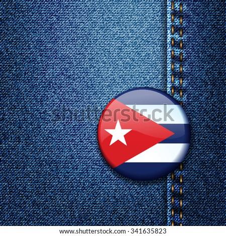 Cuba Flag Badge On Jeans Denim Texture Vector - stock vector