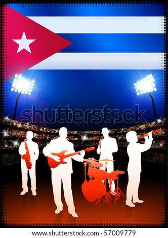 Cuba Flag with Live Music Band on Stadium Background Original Illustration - stock vector