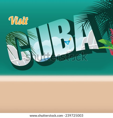 Cuba retro postcard typography background EPS 10 vector stock illustration - stock vector