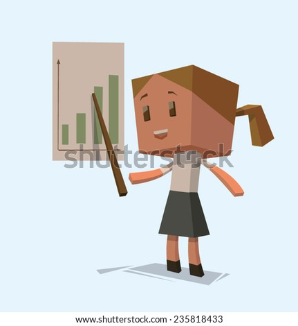 Cube business woman with a chart, vector - stock vector