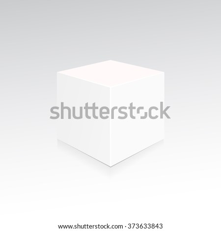 Cube 3d. Box with shadow and reflection. Snow-white cube ready for your design. Vector illustration, eps 10 - stock vector
