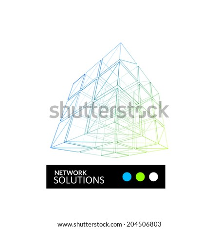 Cube geometry construction icon green blue symbol isolated on white background, abstract sign for business company, vector illustration - stock vector