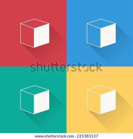 cube icon  , flat design on 4 color background - stock vector