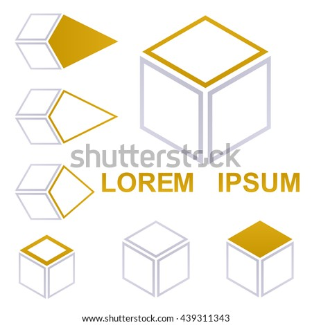 Cube icon symbol design template set for shipping, packaging, delivery, concepts. - stock vector