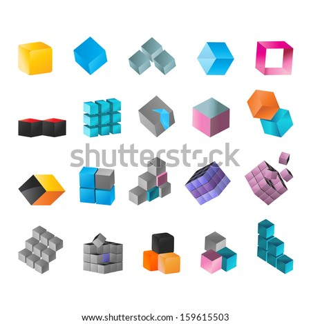 Cube Icons Set - Isolated On White Background - Vector Illustration, Graphic Design Editable For Your Design - stock vector